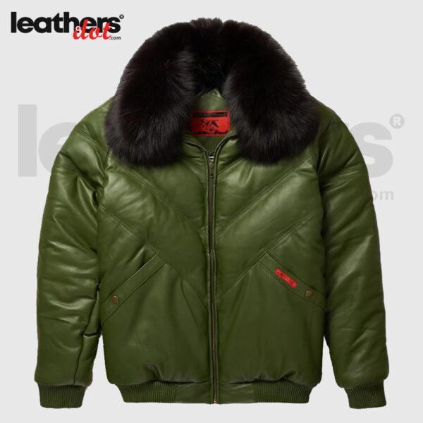 V-Bomber Winter Olive Leather Jacket for Men