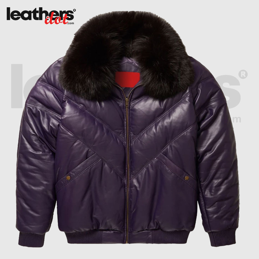 Purple Leather V Bomber Chevron Bubble Jacket