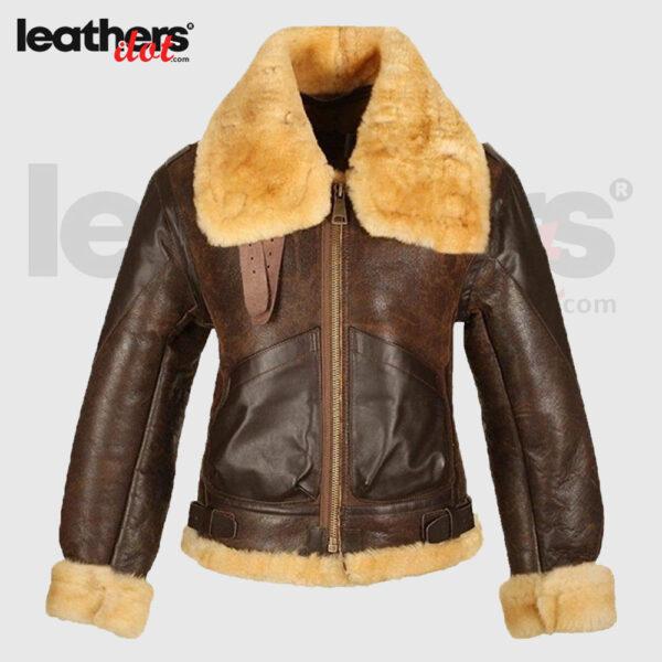 Tan brown Men B3 Shearling Bomber Leather Coat & Jacket