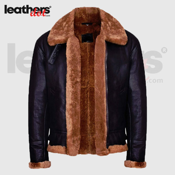 Water Proof Shearling Flying B3 Bomber Leather Brown Jacket for Men