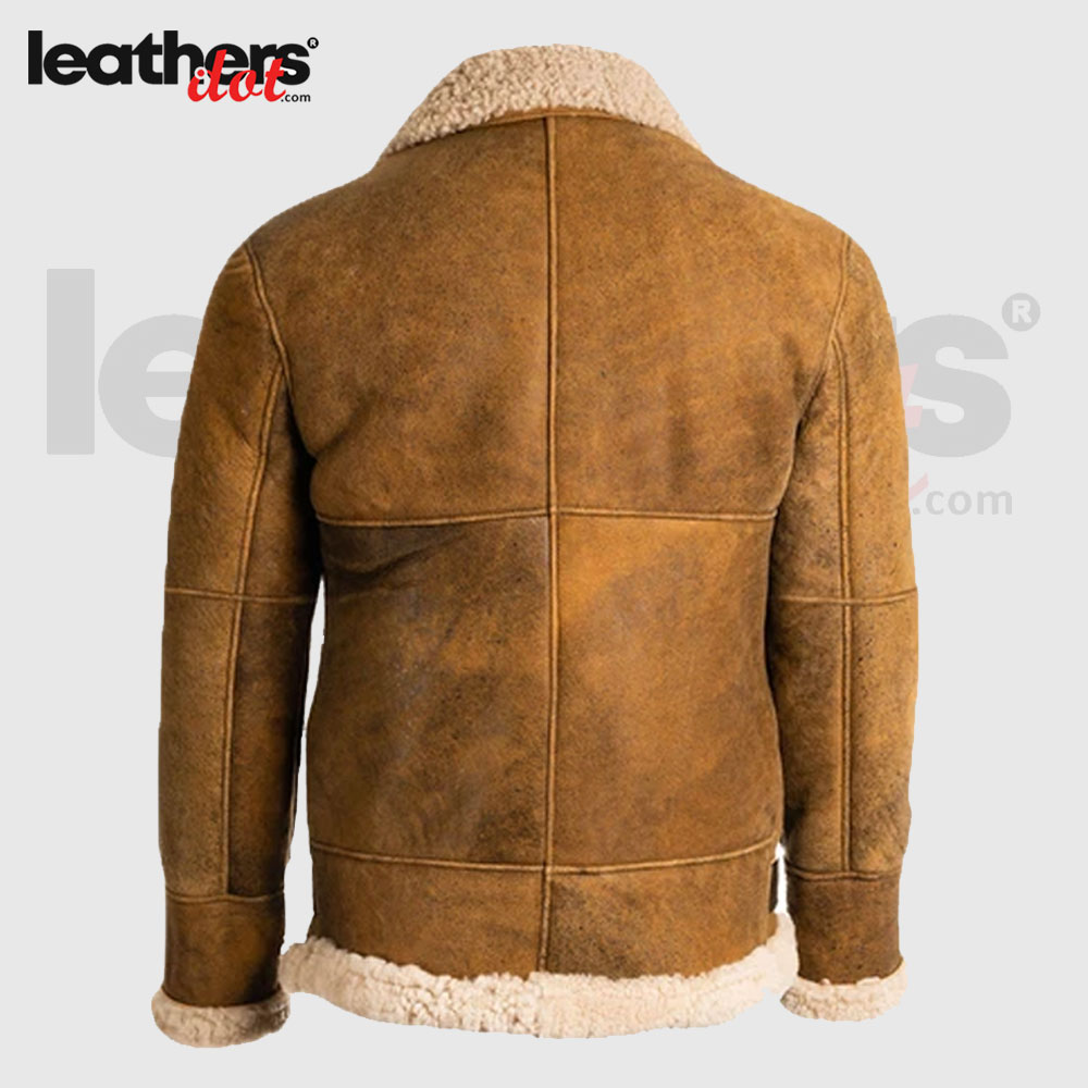 Winter Shearling Sheepskin Brown Real Leather Jacket For Men