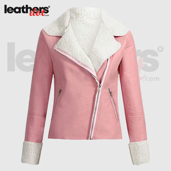 Women Suede Nappa leather Biker Jacket in Pink & White