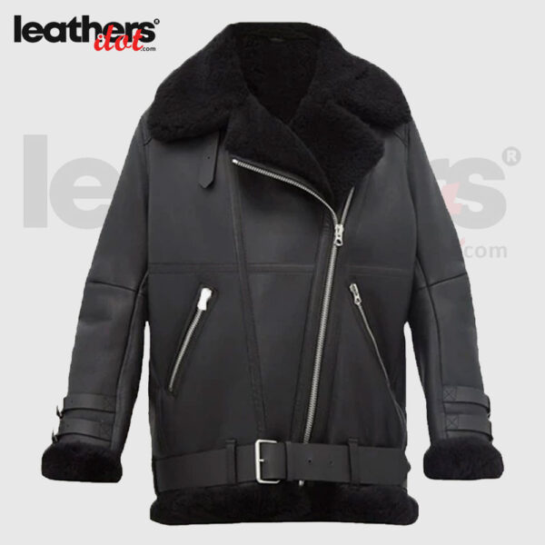 Women Pitch Black Leather Shearling Jacket