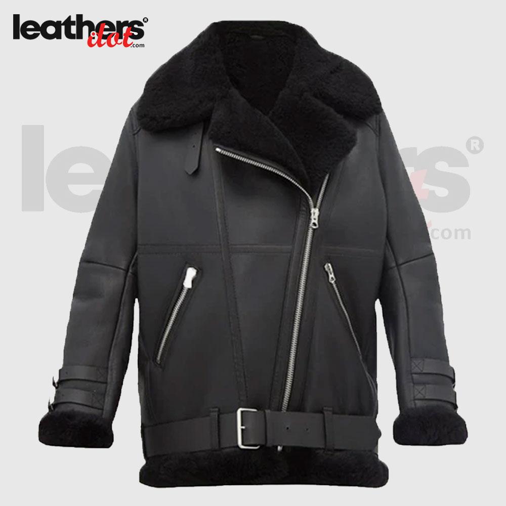 Women Pitch Black Leather Shearling Jacket