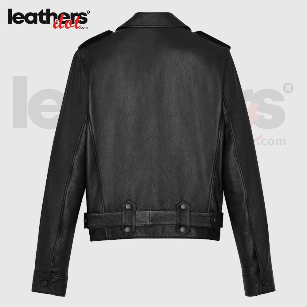 Durable Black Aviator Bomber Leather Jacket for Women