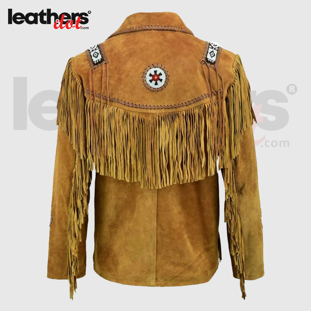 100% Real Brown Western Suede Leather Jacket with Fringed Tassels