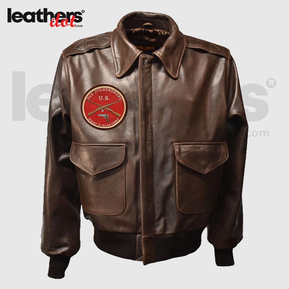 Antique Brown Men A2 Flying Leather Flight Jacket