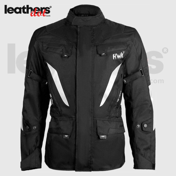 Black Touring Men's Motorcycle Adv Dual Sport CE Armored Jacket