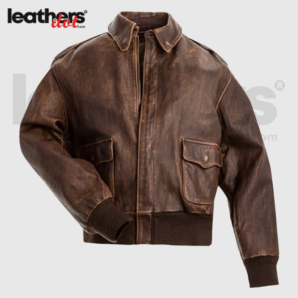Distressed Brown Mens A2 Bomber Flight Flying Jacket