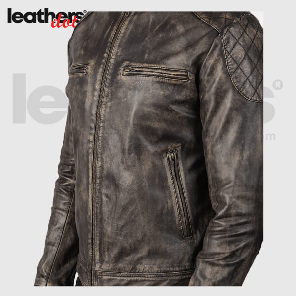 Distressed Goatskin Brown Leather Jacket For Men