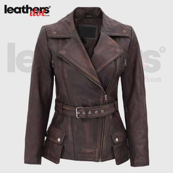 Fashionable Women Vintage Slim Fit Brown Distressed Leather Jacket