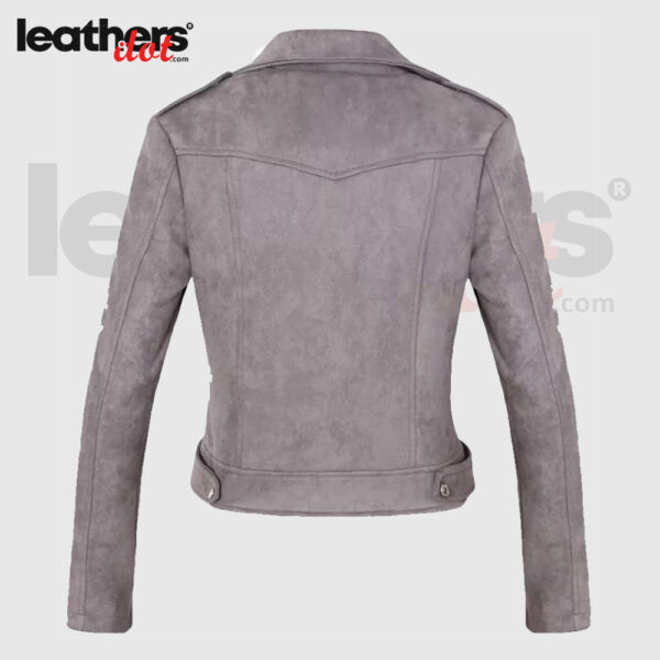 Female 100% Genuine Suede Leather Moto Jacket with Long Sleeves