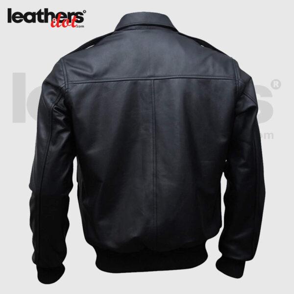 Flying A2 Black Men Flight Bomber Leather Jacket