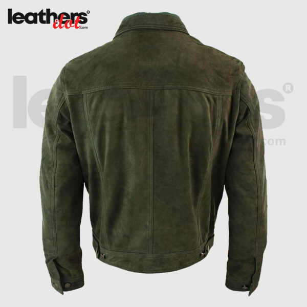 Genuine Mens Vintage Retro Real Suede Leather Jacket Tan-Brown