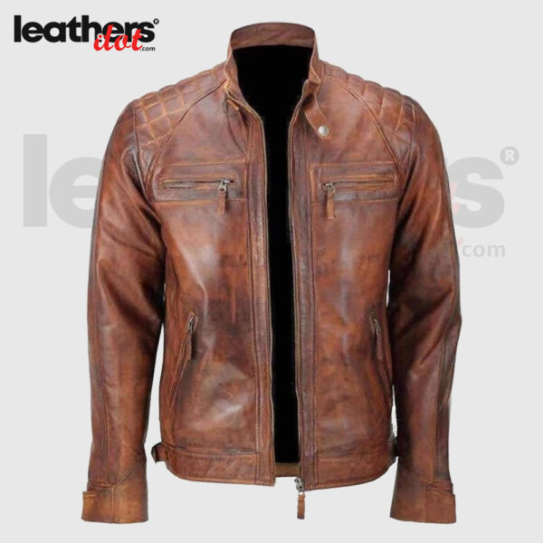 Hand Made Men Distressed Brown Vintage Cafe Racer Leather Jacket