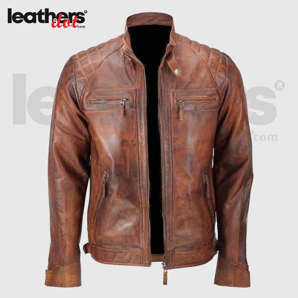Hand Made Men Distressed Brown Vintage Cafe Racer Leather Jacket