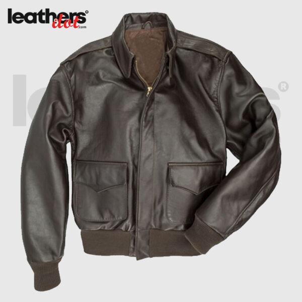 Men A2 Pilot Flying Bomber Leather Jacket
