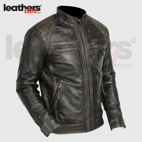 Men Cafe Racer Retro old Fashion Distressed Motorcycle Leather Jacket