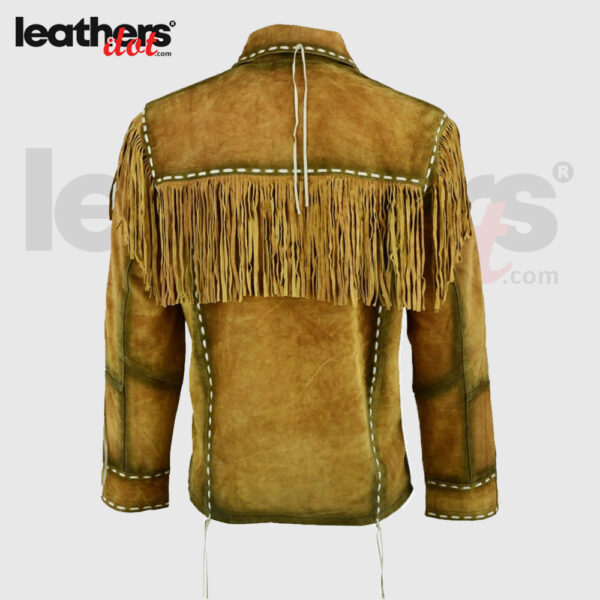 Men Classic Western Style Cowboy Brown Suede Leather Jacket