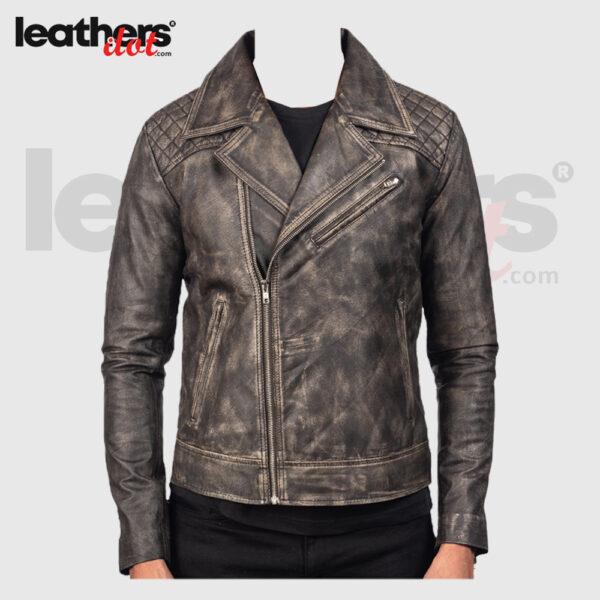 Men Distressed Brown Real Leather Biker Jacket