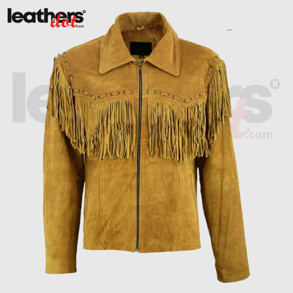 Men Fashion Western Brown Cowboy Native American Suede Leather Jacket