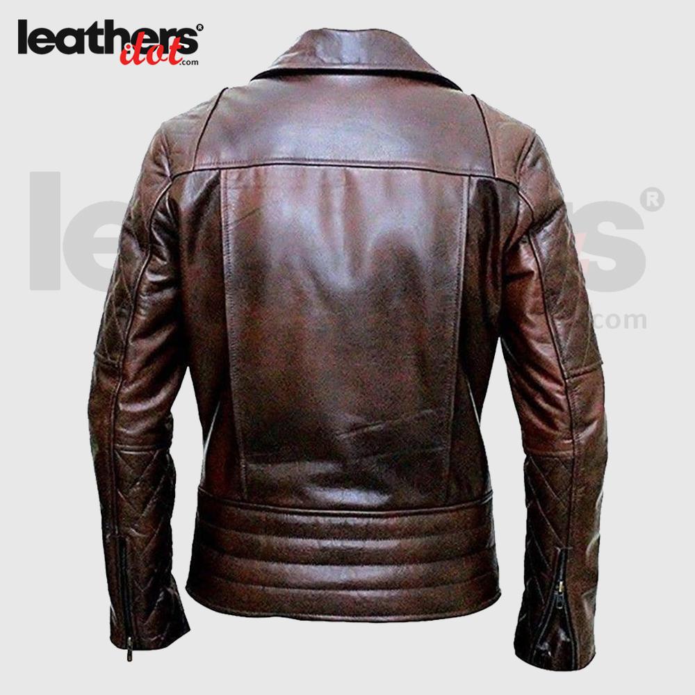 Men Motorcycle Cafe Racer Distressed Brown Leather Jacket