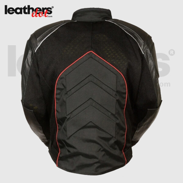 Men's Cowhide Leather Textile & Mesh Combo Racing Jacket