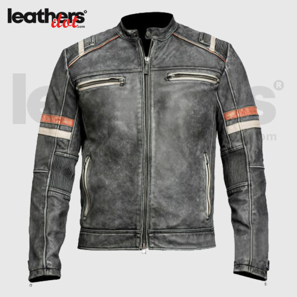 Men's Vintage Cafe Racer Retro Distressed Motorcycle Leather Jacket