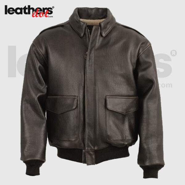 New Brown A2 Men Bomber Leather Flying Jacket
