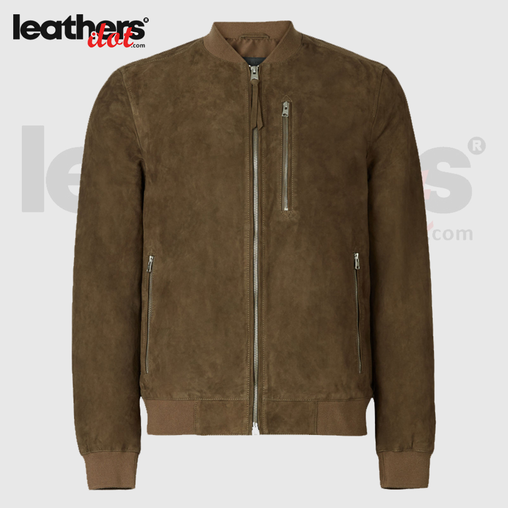 New Chrome Free Suede Bomber Leather Jackets for Men