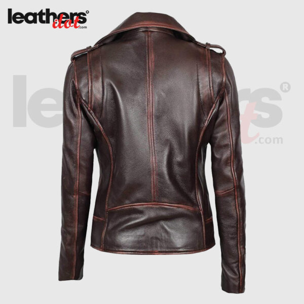 New Lambskin Women Asymmetrical Dark Brown Leather Jacket