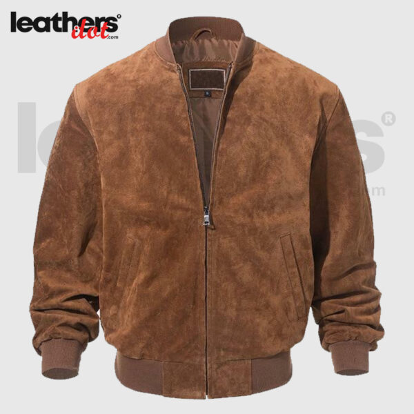 New Men Vintage Style Brown Bomber Suede Leather Jacket
