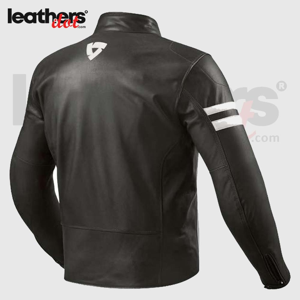 Prometheus Motorcycle Leather Jacket – Black White