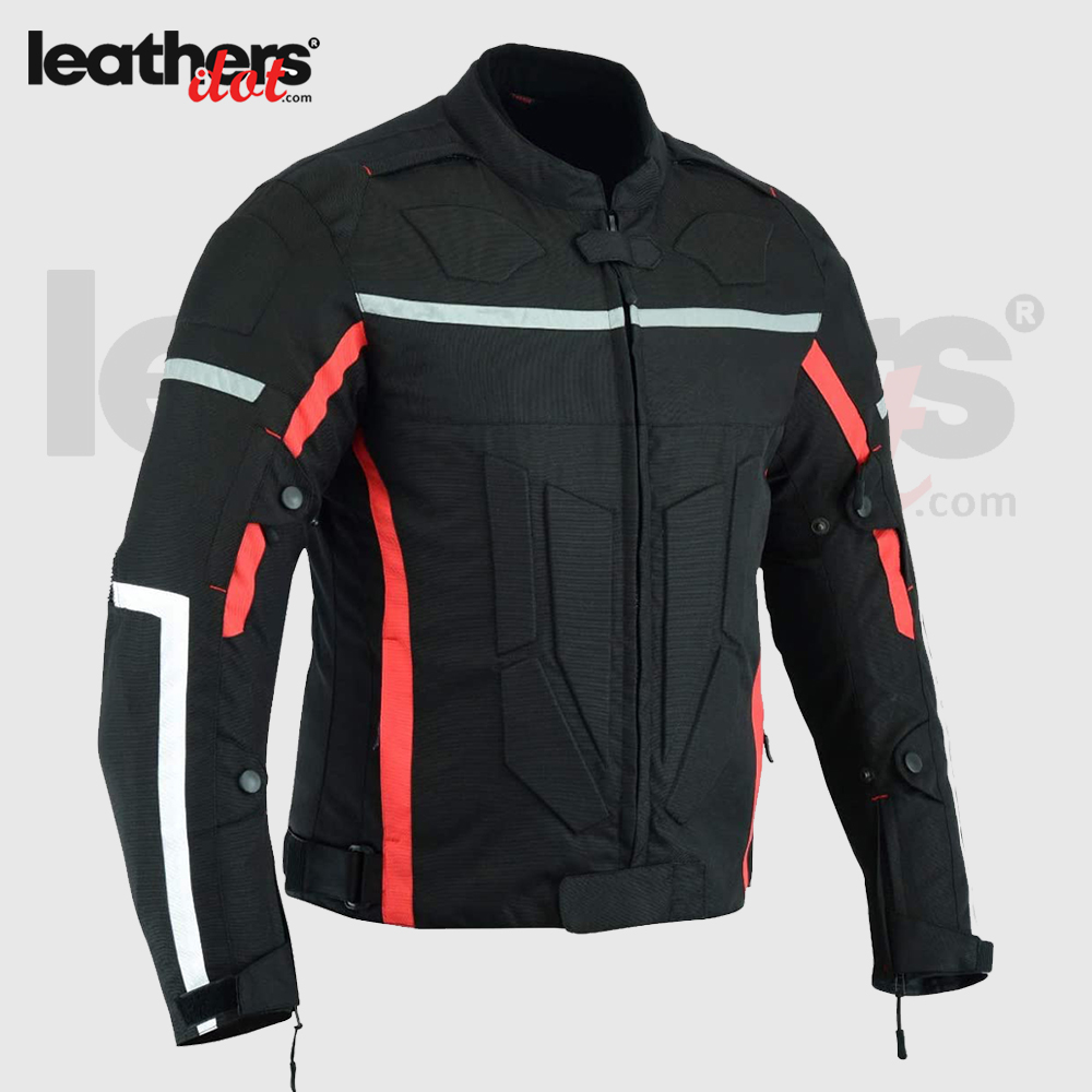 Red-Black Slim Fit Men Cordura Jacket For Men with Armoured Protectors