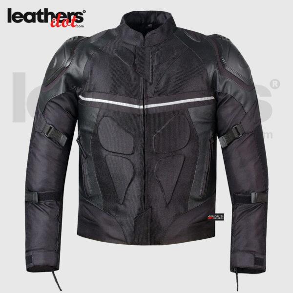 Safety Black Men Cordura Mesh & Pro Leather Riding Motorcycle Jacket