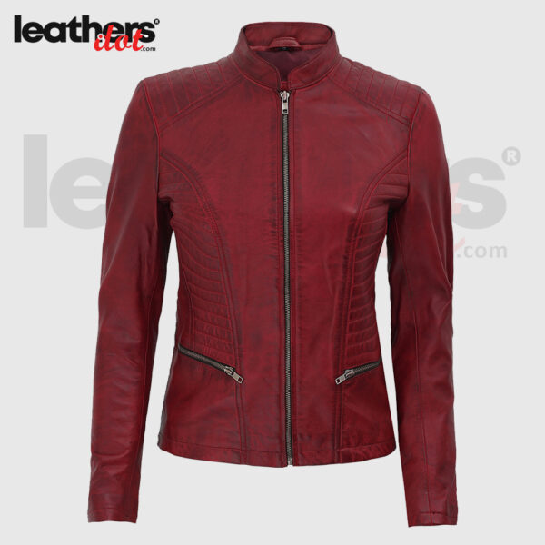 Top Rated Maroon Womens Distressed Motorcycle Leather Jacket