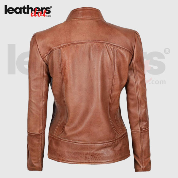 Women Distressed Motorcycle Brown Leather Jacket