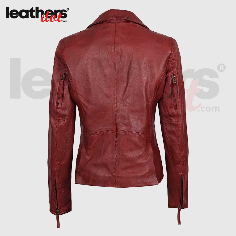 Womens Cherry Red Motorcycle Biker Leather Asymmetrical Jacket