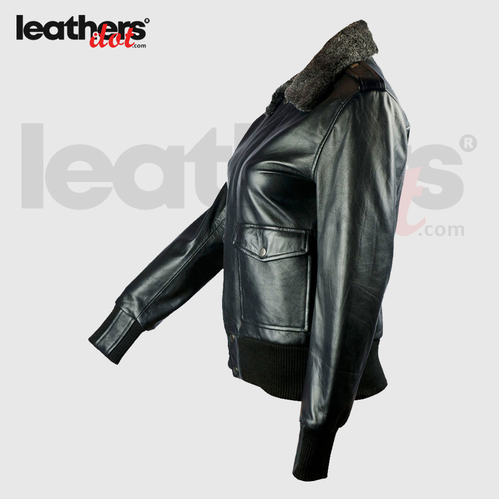 Beautiful Women Shearling Flight Leather Bomber Black Jacket