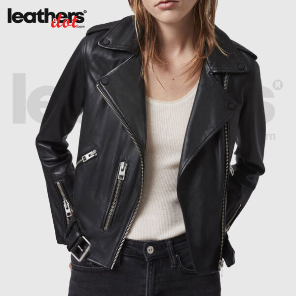 Black Fashion Motorbike Leather Jacket for Womens