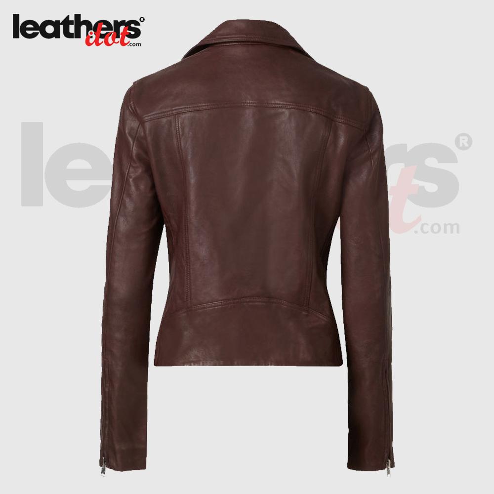 Brown Fashion Womens Leather Biker Jacket