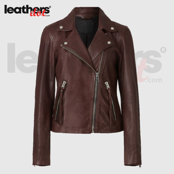 Brown Fashion Womens Leather Biker Jacket