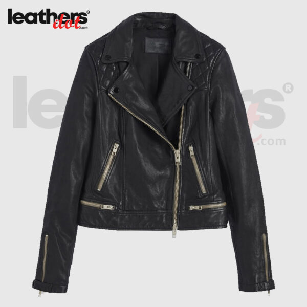 Classic Quilted Shoulder Leather Biker Jacket for Womens