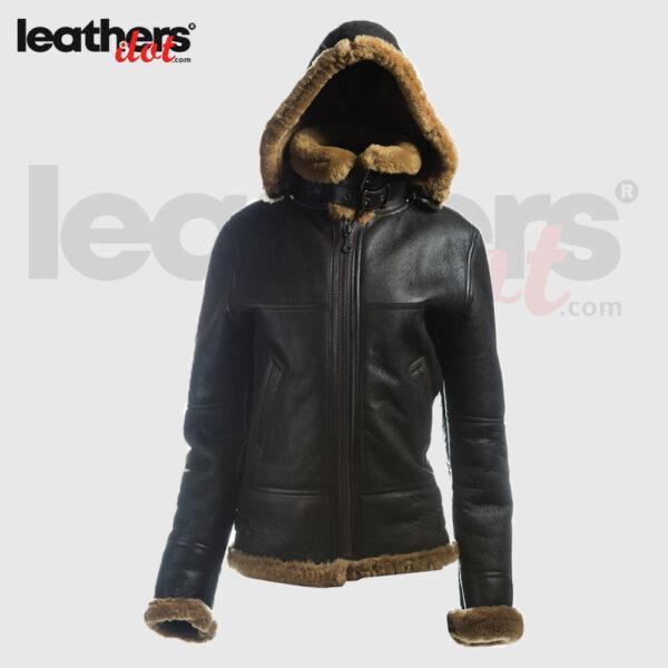 Fashionable Best Women B3 Bomber Shearling Leather Black Jacket