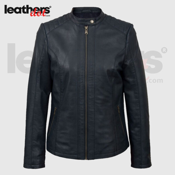 High Quality Womens Navy Biker Handmade Leather Fashion Jacket