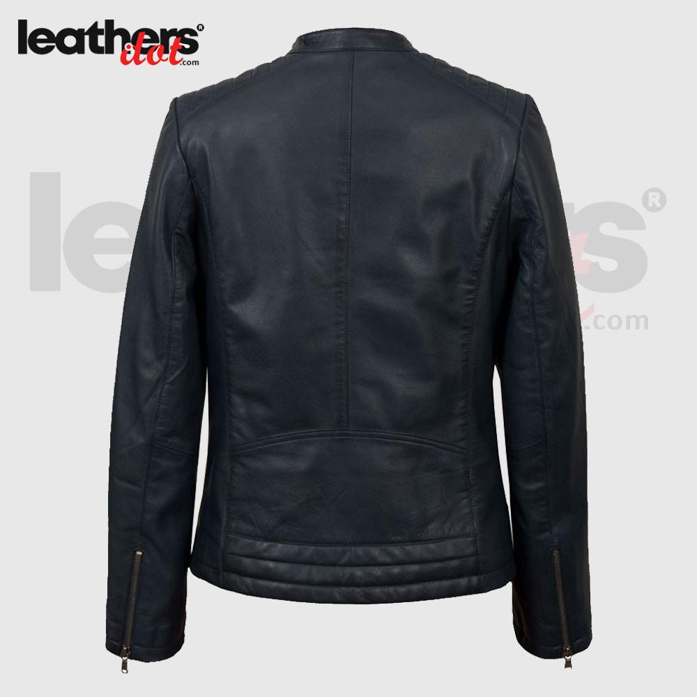 High Quality Womens Navy Biker Handmade Leather Fashion Jacket