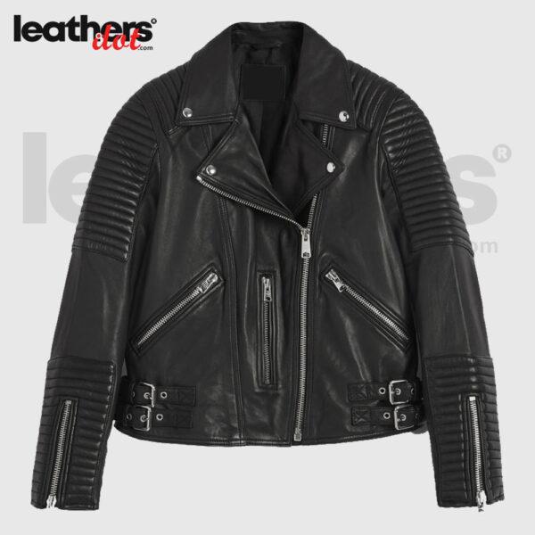 Motorbike Style Leather Biker Jacket for Ladies