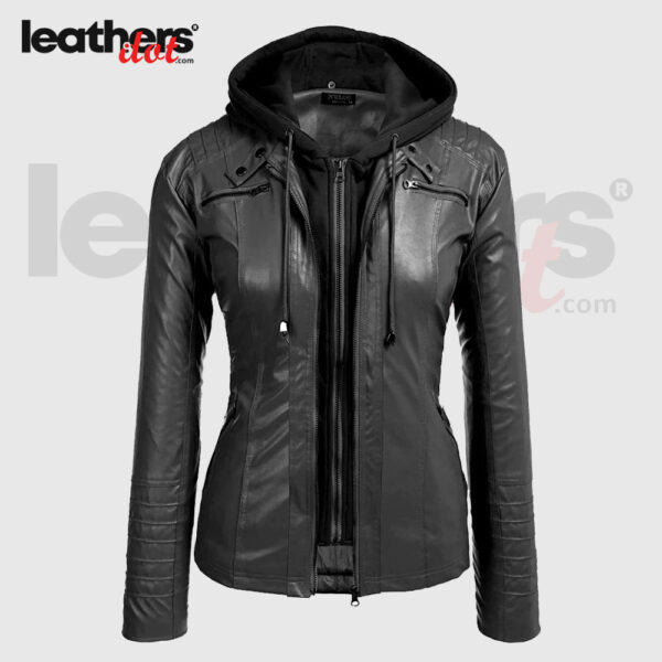New Women Faux Leather Moto Biker Zip Up Hoodie Fashion Jacket