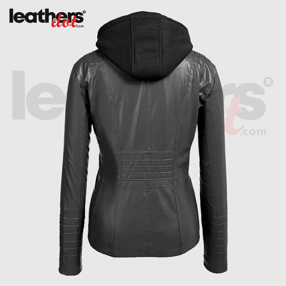 New Women Faux Leather Moto Biker Zip Up Hoodie Fashion Jacket