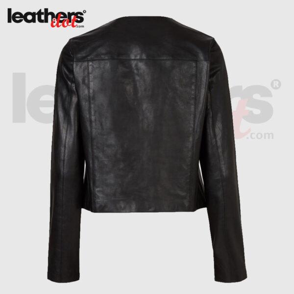 O-Neck Collar Motorcycle Leather Biker Jacket